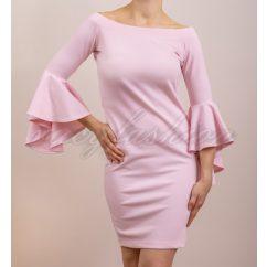 harang ujjú ruha, csónak nyakú ruha, rózsaszín ruha, alkalmi ruha
