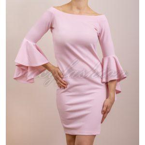 Csónaknyakú alklami ruha, fodros ujjakkal (rózsaszín)