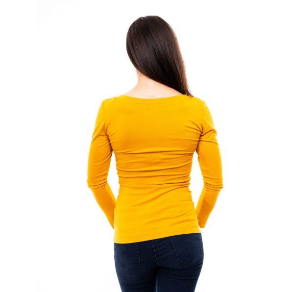 egyszínű felső, V nyakú felső, mustár színű felső