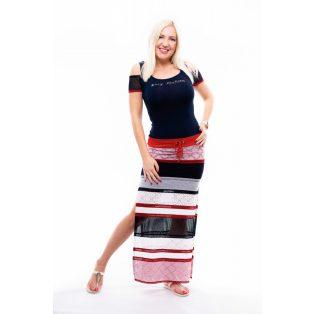 hálós szoknyás ruha, sliccolt szoknyás maxi ruha,matróz színű maxi ruha,kötős maxi ruha,rucy fashion