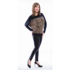Rucy Fashion bronz csillogó denevér fazonú, hosszú ujjú, női alkalmi felső