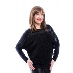 Rucy Fashion fekete csillogó denevér fazonú, hosszú ujjú, női, alkalmi felső