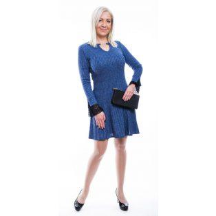 Hosszú ujjú kék bordás, ruha ezüst szállal, A vonalú szoknyával