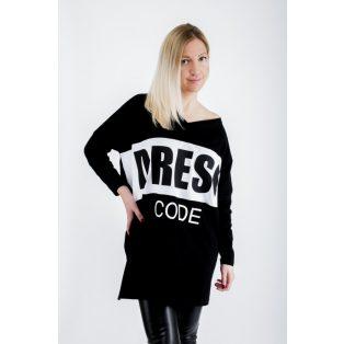 """Hosszú ujjú """"V"""" nyakú laza fekete-fehér betétes tunika /dress code/"""
