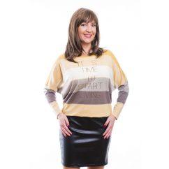 Rucy Fashion mustár-ekrü csíkos bőrszoknyás, hosszú ujjú denevér fazonú ruha / tunika