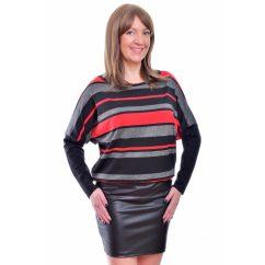 Rucy Fashion fekete-piros lurexes csíkos, hosszú ujjú bőrszoknyás denevér fazonú ruha / tunika