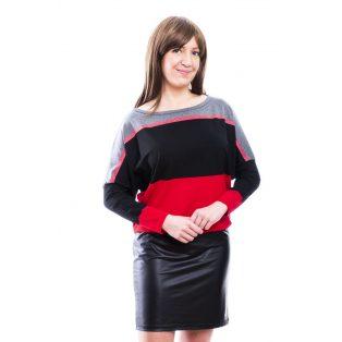 Rucy Fashion fekete-piros-szürke lurexes csíkos bőrszoknyás denevér fazonú hosszú ujjú ruha / tunika