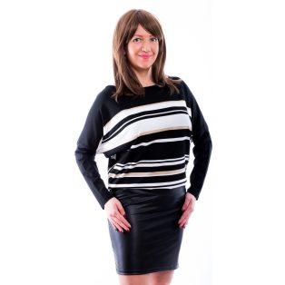 Rucy Fashion fekete-fehér arany lurex csíkos denevér fazonú, bőrszoknyás ruha/tunika