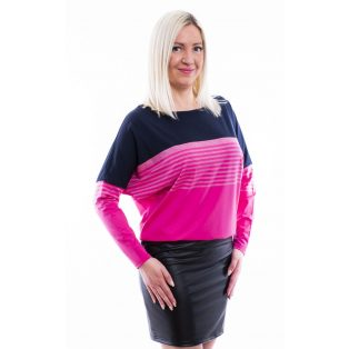 Rucy Fashion sötétkék-pink hosszú ujjú bőrszoknyás denevér fazonú ruha/tunika
