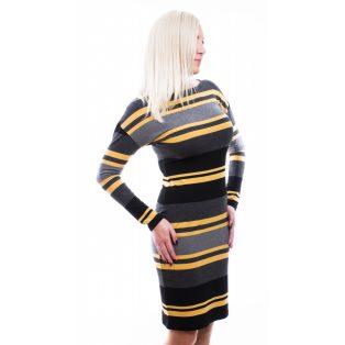 Rucy Fashion fekete-mustár-szürke csíkos ruha, denevér fazonú ruha