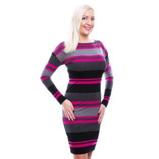 Rucy Fashion fekete-szűrke-pink csíkos, denevér fazonú, hosszú ujjú, szűk fazonú női ruha