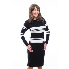 Rucy Fashion fekete-fehér csíkos, denevér fazonú, szűk fazonú, hosszú ujjú ruha