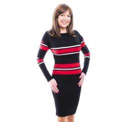 Rucy Fashion fekete-piros csíkos, hosszú ujjú, szűk fazonú ruha