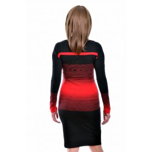 Rucy Fashion fekete-piros különleges csíkozású, denevér szabású, hosszú ujjú ruha
