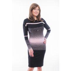 Rucy Fashion fekete-rózsaszín különleges csíkozású, hosszú ujjú, csónak nyakú, denevér fazonú ruha