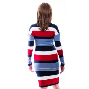 Rucy Fashion sötétkék-farmerkék-piros-fehér csíkos kissé denevér fazonú, csónak nyakú ruha