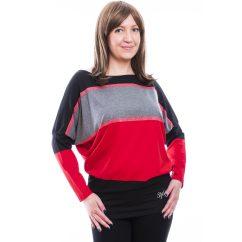 Rucy Fashion fekete-szürke-piros csíkos, hosszú ujjú denevér felső