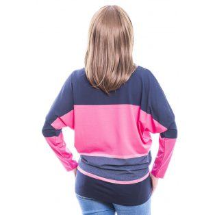 Rucy Fashion sötétkék-pink-farmerkék csíkos denevér fazonú, hosszú ujjú felső