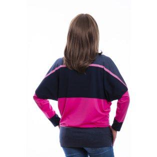 Rucy Fashion farmerkék-sötétkék-pink csíkos denevér, hosszú ujjú felső