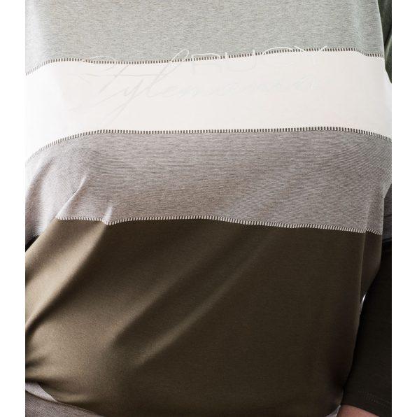 Rucy Fashion keki-drapp-ekrü csíkos lezser felső, hosszú ujjú, denevér fazonú tunika