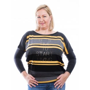 Rucy Fashion fekete-szürke-mustár csíkos lezser felső, hosszú ujjú denevér tunika