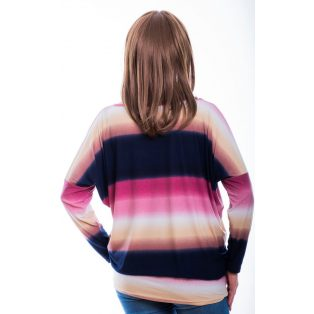 Rucy Fashion sötétkék-rózsaszín színátmenetes lezser, denevér ujjú felső felirat nélkül