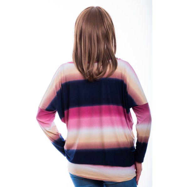 Rucy Fashion sötétkék-rózsaszín színátmenetes lezser, denevér fazonú felső
