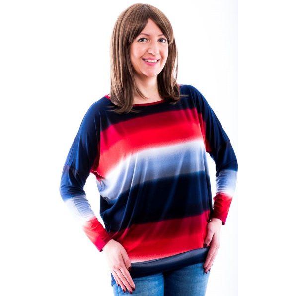 Rucy Fashion piros-kék színátmenetes lezser, denevér fazonú, hosszú ujjú felső felirat nélkül