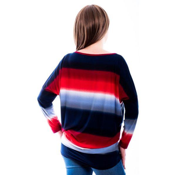 Rucy Fashion piros-kék színátmenetes lezser felső