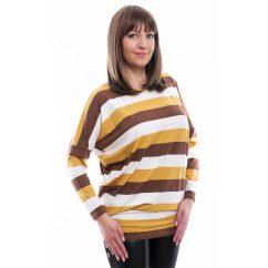 Rucy Fashion barna-mustár-fehér csíkos, denevér fazonú hosszú ujjú lezser felső
