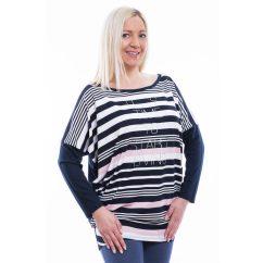 Rucy Fashion sötétkék-fehér-rózsaszín csíkos lezser, denevér fazonú, hosszú ujjú felső