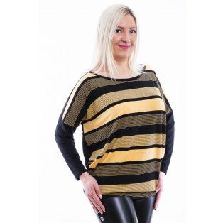Rucy Fashion fekete-sárga csíkos lezser felső felirat nélkül