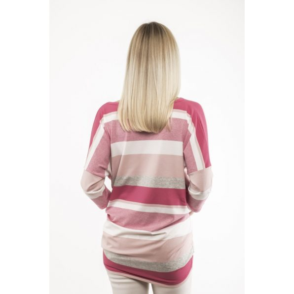 Háromnegyedes  ujjú pink-rózsaszín-melirszürke-fehér csíkos lezser felső