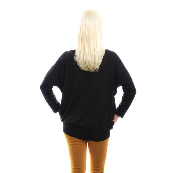 rucy fashion mustár-szürke-fekete csíkos lezser felső, denevér tunika