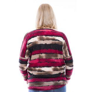 Rucy Fashion bordó-barna csíkos vékony kötött lezser felső, hosszú ujjú, denevér fazonú tunika