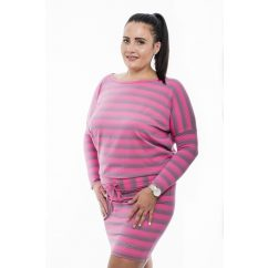 Hosszú ujjú pink-szürke mikrocsíkos kötős denevér fazonú ruha / tunika