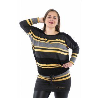 Hosszú ujjú csíkos kötős derekú lezser tunika, ruha /mustár-fekete-antracid/