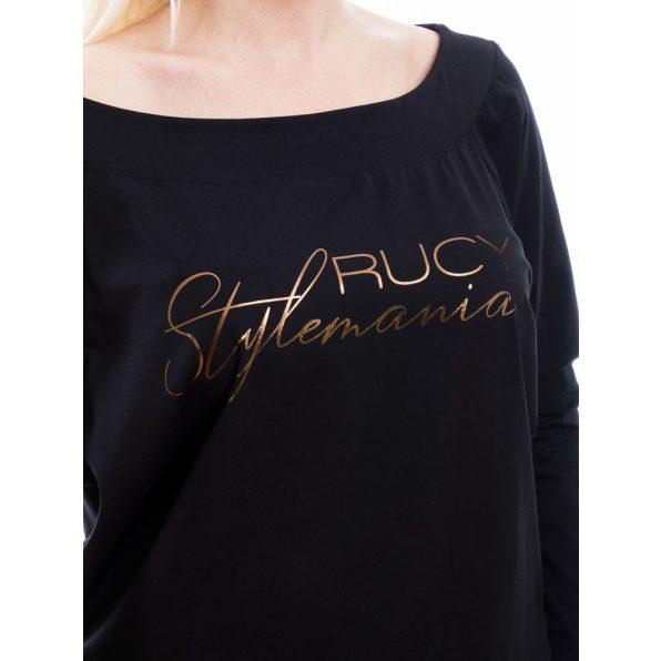 Rucy Fashion fekete csónak nyakú, denevér fazonú passzés felső, hosszú ujjú raglán ujjal