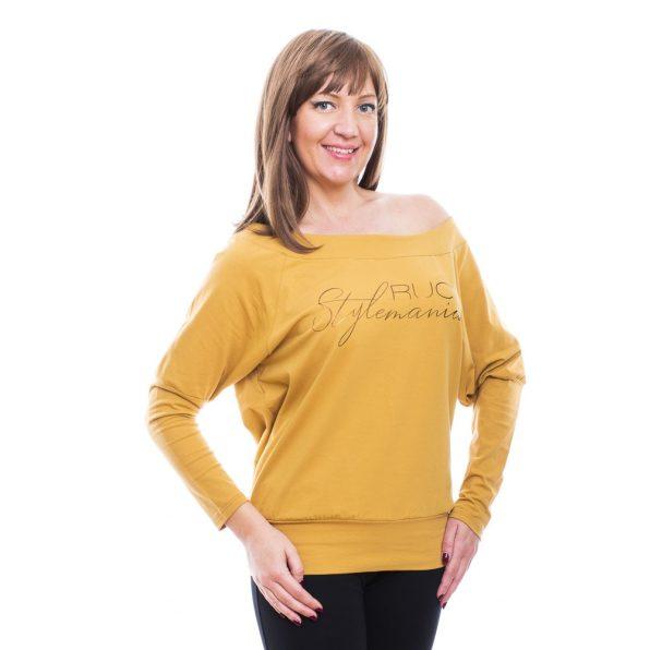Rucy Fashion mustár csónak nyakú, ejtett vállú denevér fazonú passzés hosszú ujjú női felső