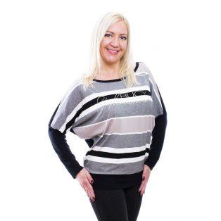 Rucy Fashion szürkés-fekete-fehér csíkos lezser passzés felső, hosszú ujjú denevér fazon