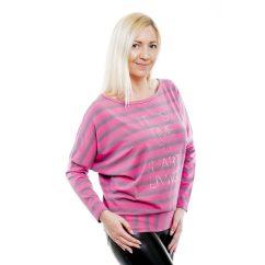 Rucy Fashion fekete-szürke-pink csíkos hosszú ujjú, denevér fazonú passzés női felső