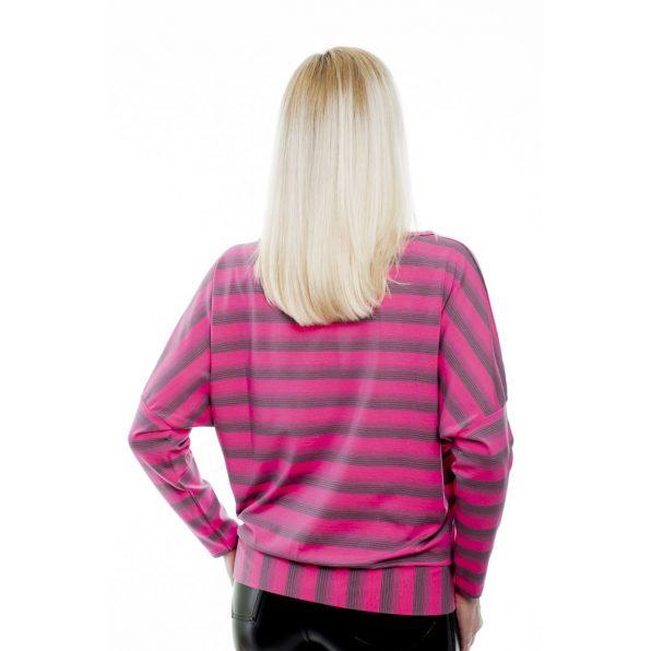 Hosszú ujjú pink-szürke csíkos passzés felső