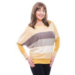 Rucy Fashion mustár-ekrü-barna csíkos denevér fezonú, hosszú ujjú passzés női felső