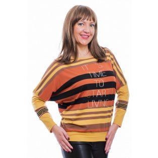 Rucy Fashion mustár-rozsda-fekete csíkos denevér fazonú, hosszú ujjú, passzés, női felső