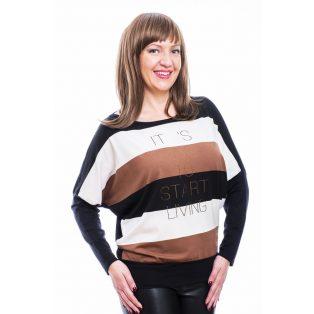 Rucy Fashion fekete-barna-ekrü csíkos denevér fazonú, hosszú ujjú passzés felső