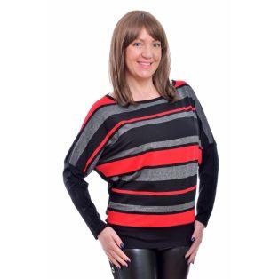 Rucy Fashion fekete-szürke-piros-ezüst lurex csíkos denevér fazonú hosszú ujjú passzés felső