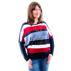 Rucy Fashion sötétkék-farmerkék-piros csíkos denevér fazonú passzés felső