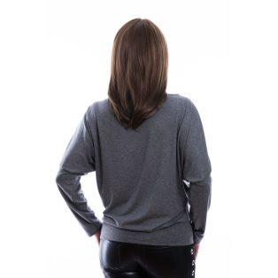 """Rucy Fashion antracit-fehér csíkos denevér fazonú passzés felső """"Stylemania"""" felirattal"""