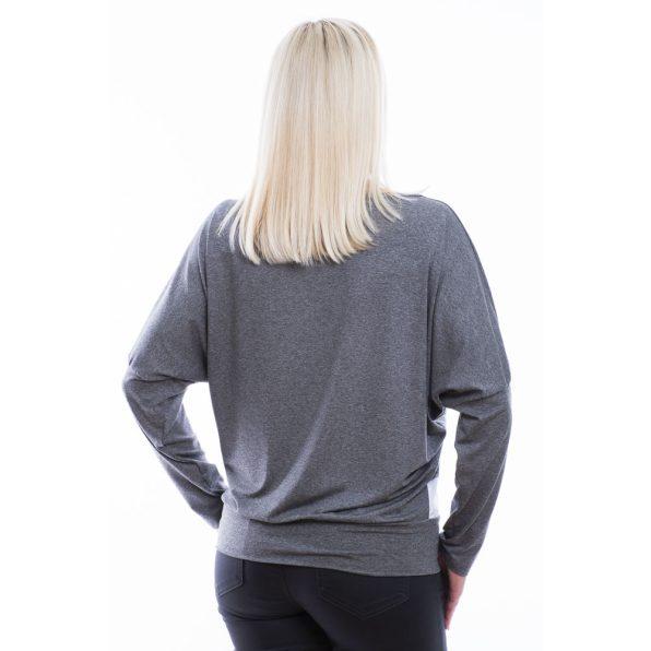 Rucy Fashion antracit-fehér csíkos denevér fazonú passzés felső