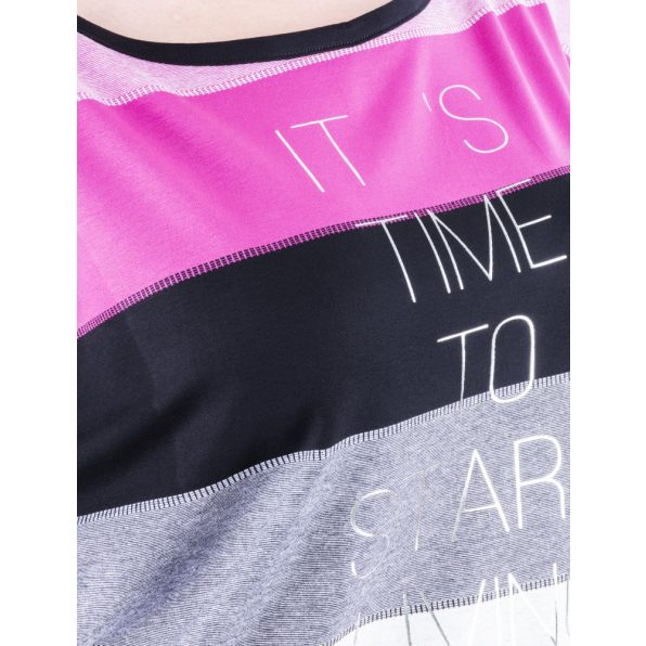 Rucy Fashion pink-fekete-ekrü csíkos denevér fazonú passzés felső